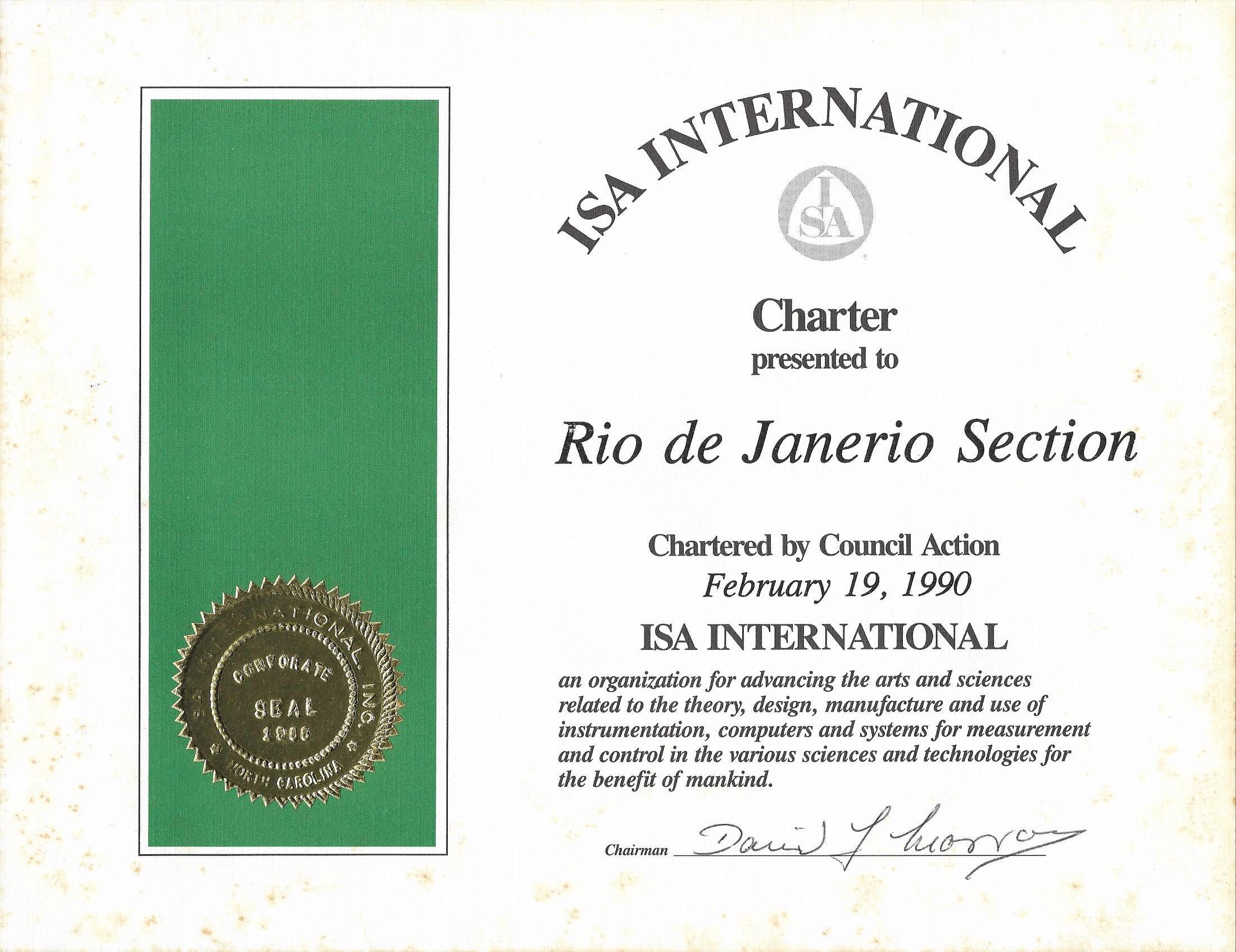 Certificado de Fundação ISA Rj